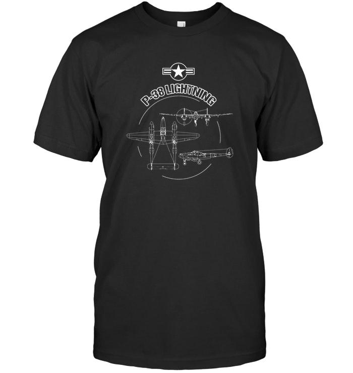 P 38 Lightning USAF Warbird Plane WW2 Airshow T Shirt